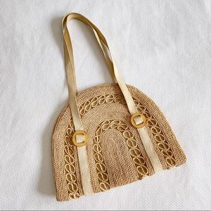 Vintage Arched Straw Weaved Purse